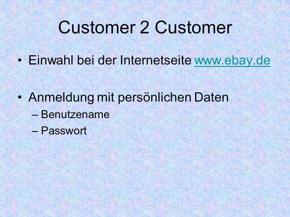 Customer 2 Customer Einwahl bei der Internetseite www.ebay.de
