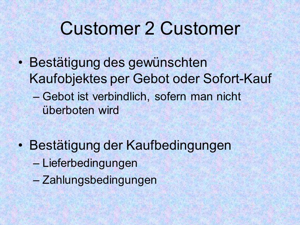 Customer 2 Customer Bestätigung des gewünschten Kaufobjektes per Gebot oder Sofort-Kauf. Gebot ist verbindlich, sofern man nicht überboten wird.
