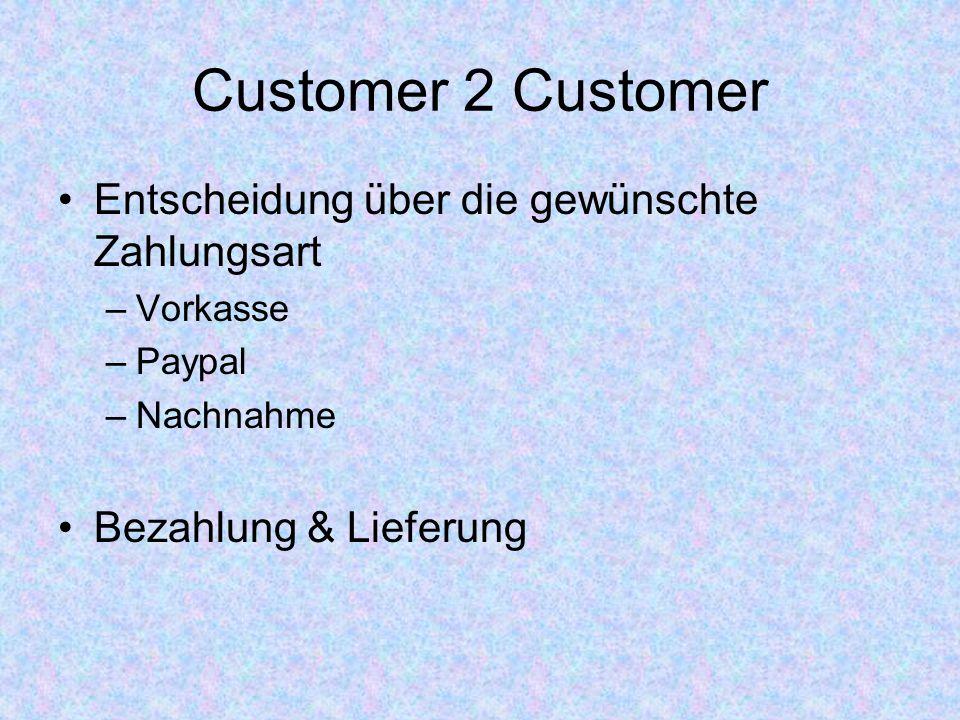 Customer 2 Customer Entscheidung über die gewünschte Zahlungsart