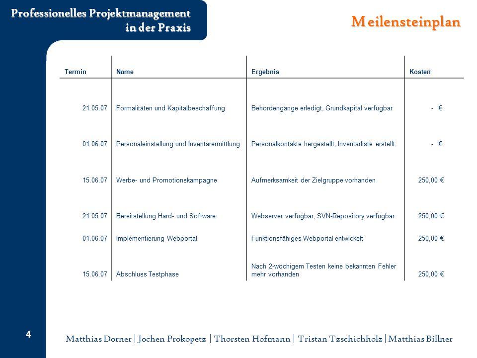 Meilensteinplan Termin Name Ergebnis Kosten 21.05.07