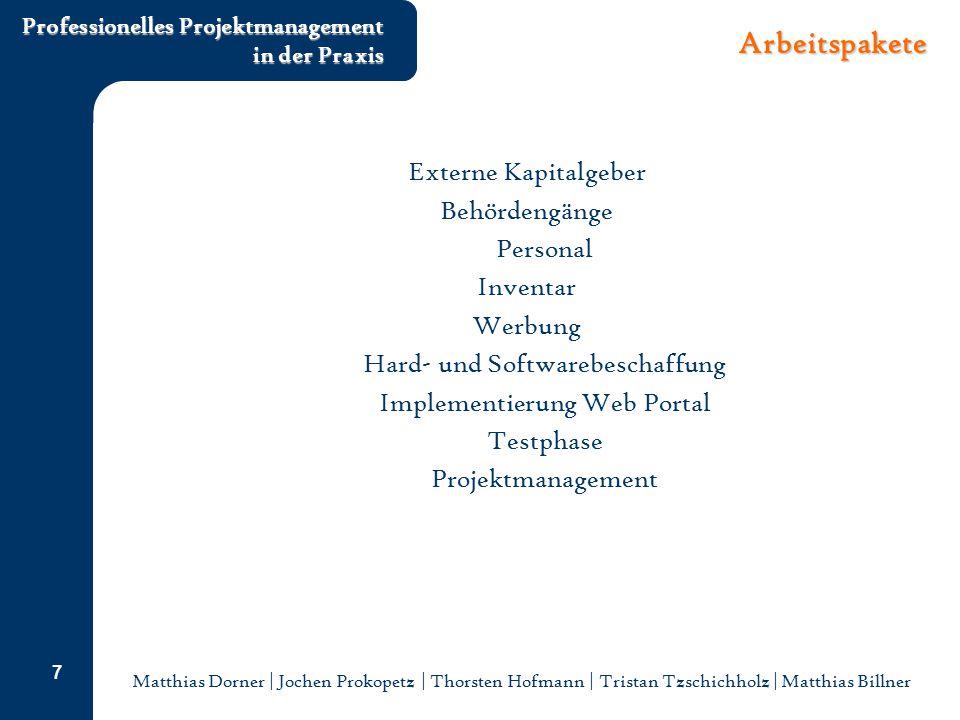 Arbeitspakete Externe Kapitalgeber Behördengänge Personal Inventar