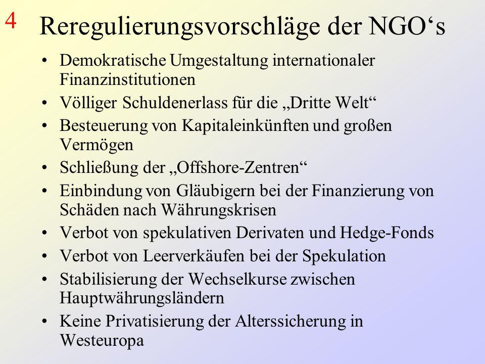 Reregulierungsvorschläge der NGO's