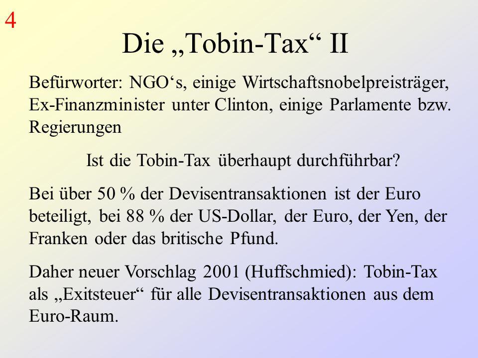 Ist die Tobin-Tax überhaupt durchführbar