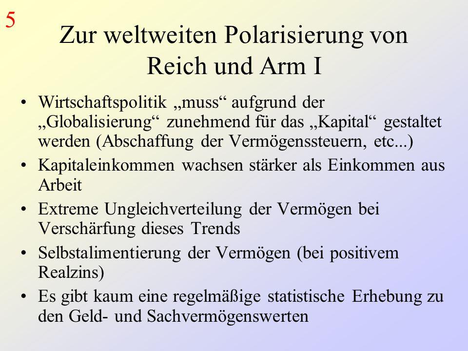 Zur weltweiten Polarisierung von Reich und Arm I