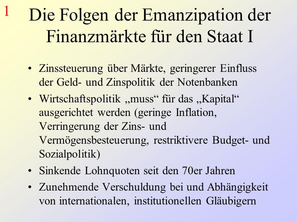 Die Folgen der Emanzipation der Finanzmärkte für den Staat I