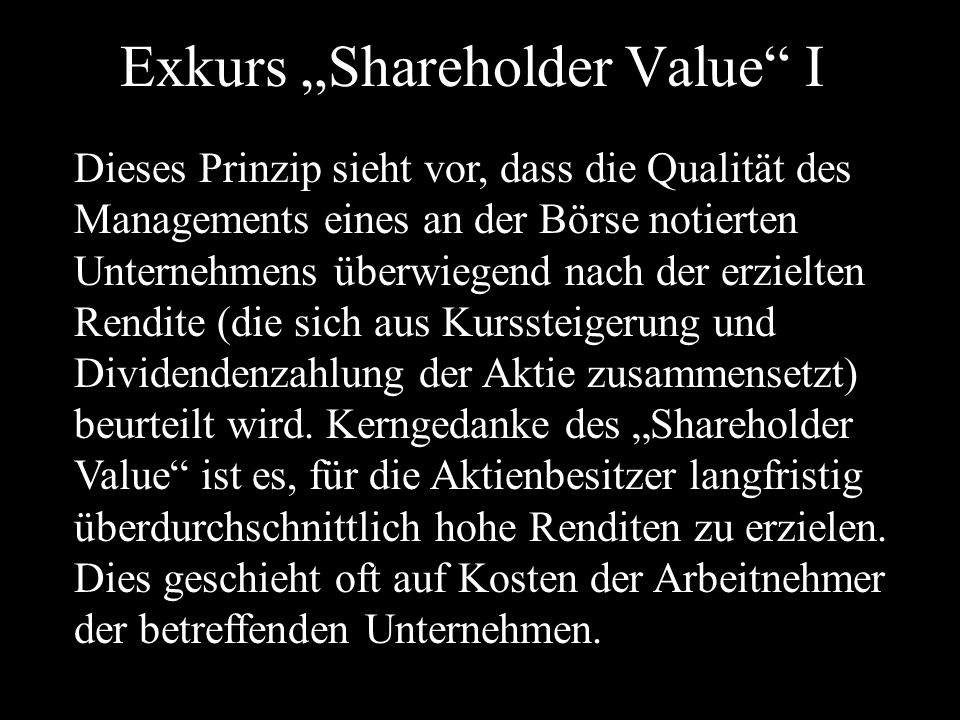 "Exkurs ""Shareholder Value I"