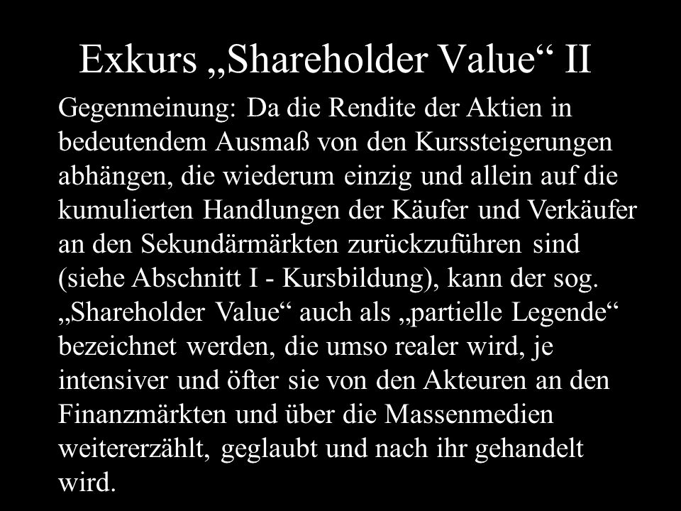 "Exkurs ""Shareholder Value II"