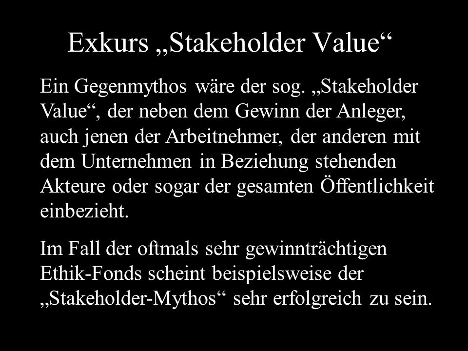 "Exkurs ""Stakeholder Value"