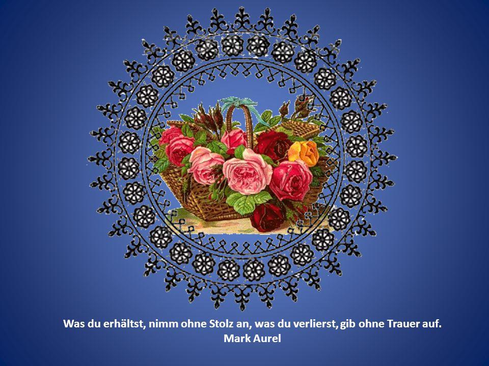Was du erhälst, nimm ohne Stolz an, was du verlierst, gib ohne Trauer auf. Mark Aurel