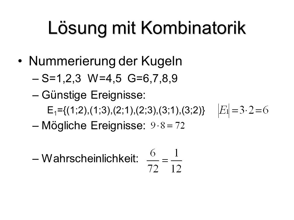 Lösung mit Kombinatorik