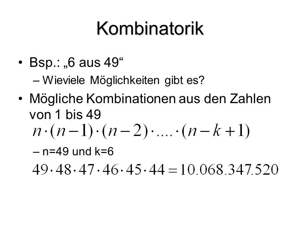 "Kombinatorik Bsp.: ""6 aus 49"