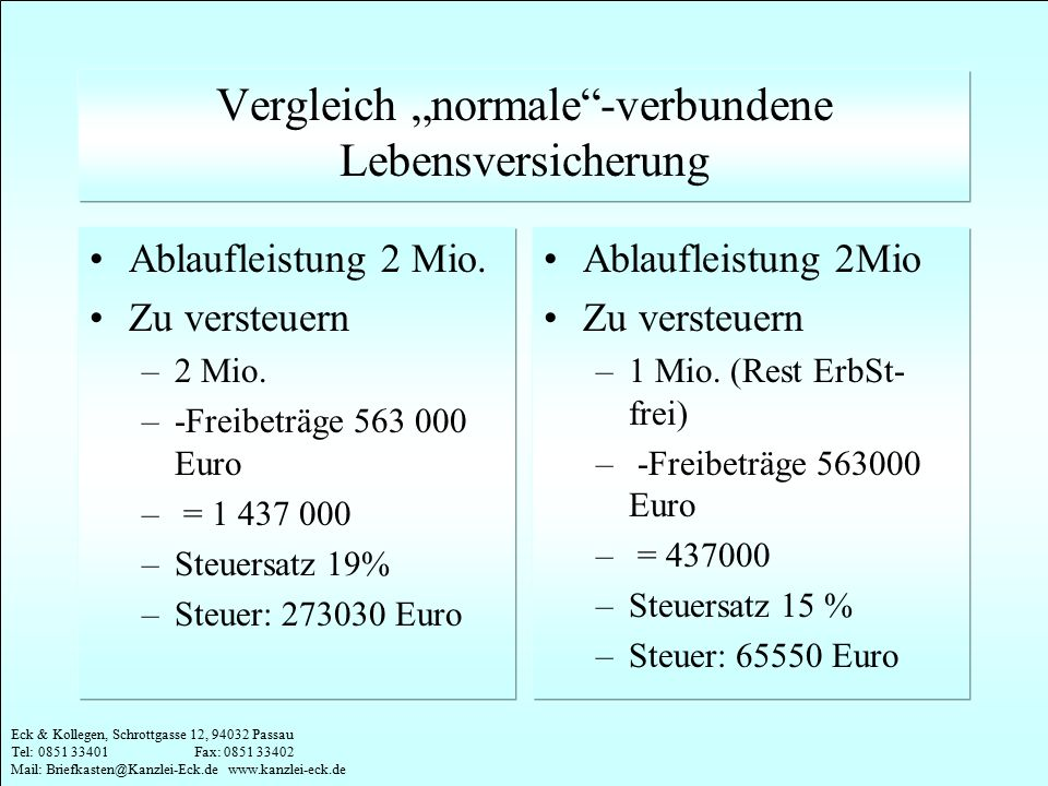 """Vergleich """"normale -verbundene Lebensversicherung"""