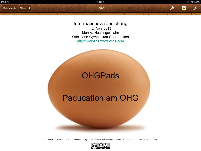 OHGPads Paducation am OHG Informationsveranstaltung 12. April 2013