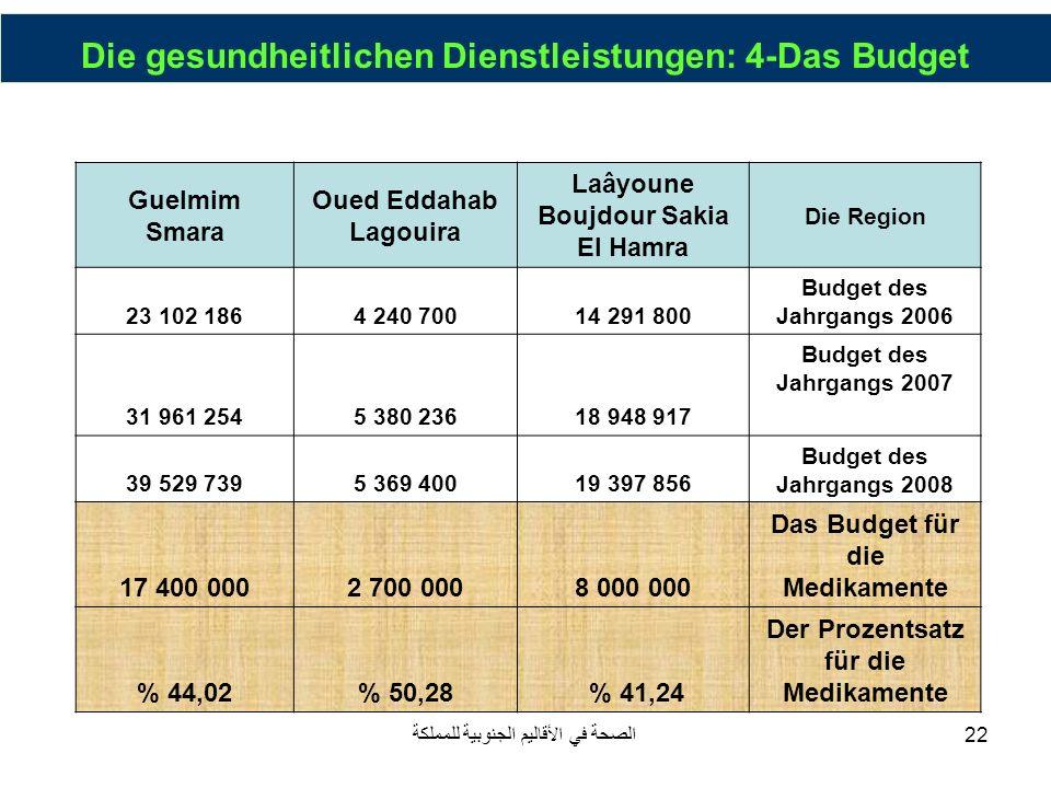Die gesundheitlichen Dienstleistungen: 4-Das Budget