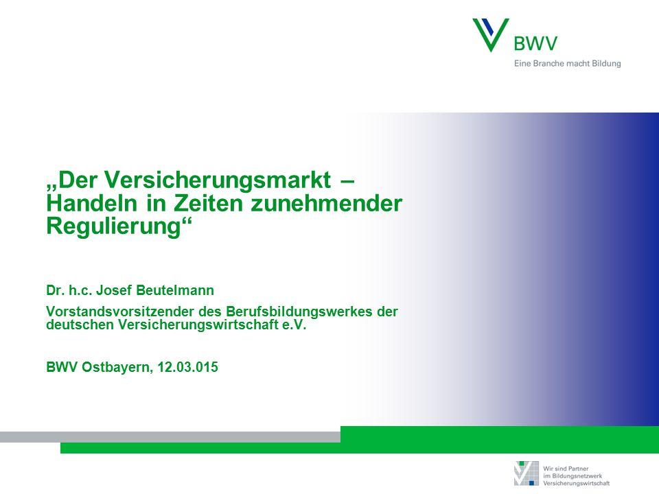 """""""Der Versicherungsmarkt – Handeln in Zeiten zunehmender Regulierung"""