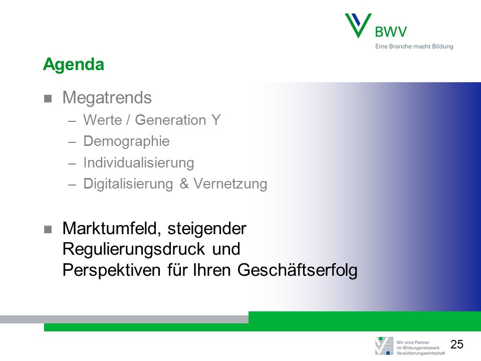Agenda Megatrends. Werte / Generation Y. Demographie. Individualisierung. Digitalisierung & Vernetzung.