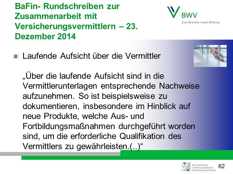 BaFin- Rundschreiben zur Zusammenarbeit mit Versicherungsvermittlern – 23. Dezember 2014