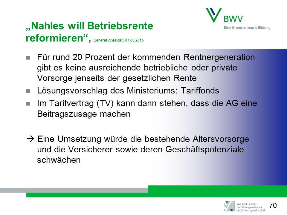 """""""Nahles will Betriebsrente reformieren , General-Anzeiger, 07.03.2015"""