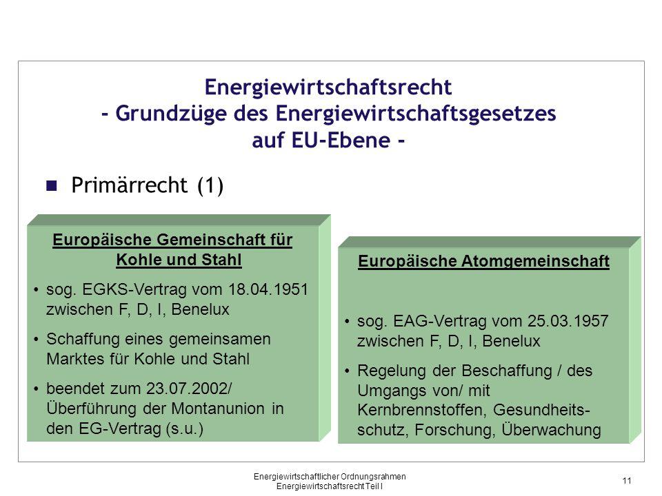 Energiewirtschaftsrecht - Grundzüge des Energiewirtschaftsgesetzes auf EU-Ebene -