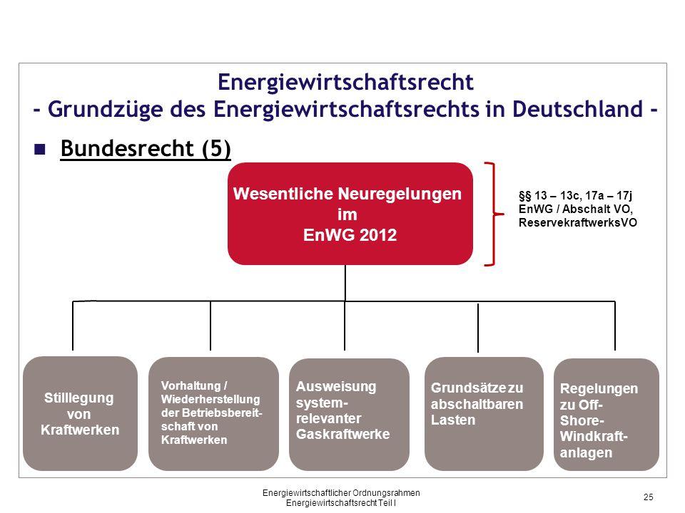 Wesentliche Neuregelungen im EnWG 2012