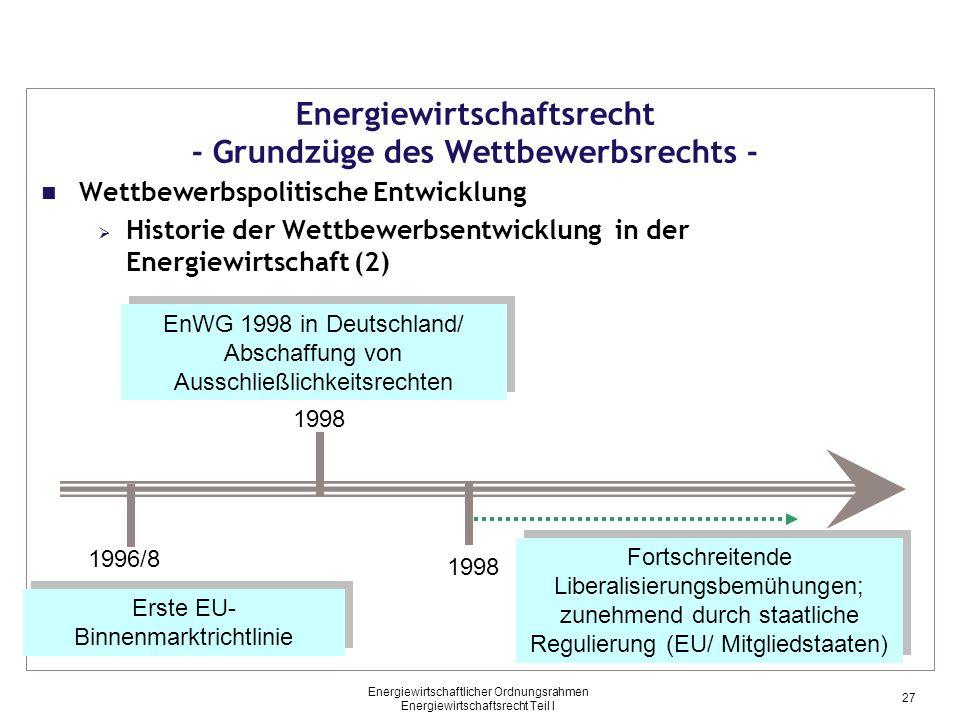 Energiewirtschaftsrecht - Grundzüge des Wettbewerbsrechts -