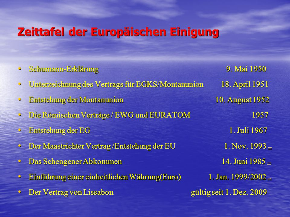 Zeittafel der Europäischen Einigung