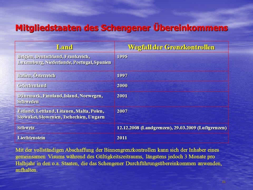 Mitgliedstaaten des Schengener Übereinkommens