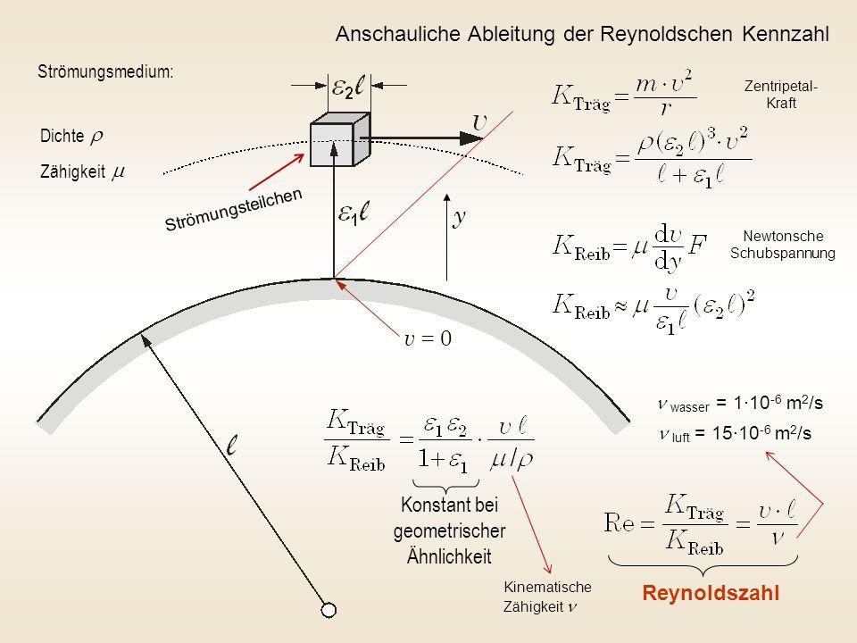 y v = 0 Anschauliche Ableitung der Reynoldschen Kennzahl r m