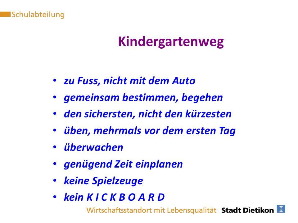 Kindergartenweg zu Fuss, nicht mit dem Auto