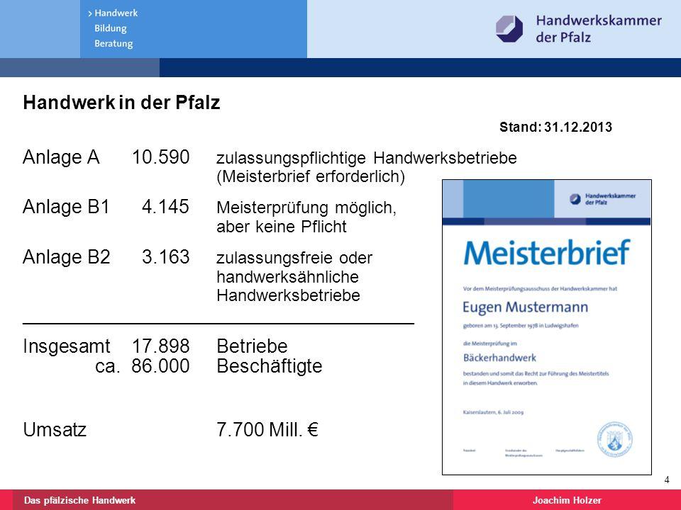 Handwerk in der Pfalz Stand: 31.12.2013