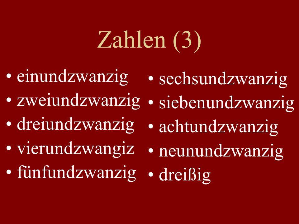 Zahlen (3) einundzwanzig sechsundzwanzig zweiundzwanzig