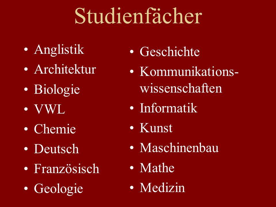 Studienfächer Anglistik Geschichte Architektur
