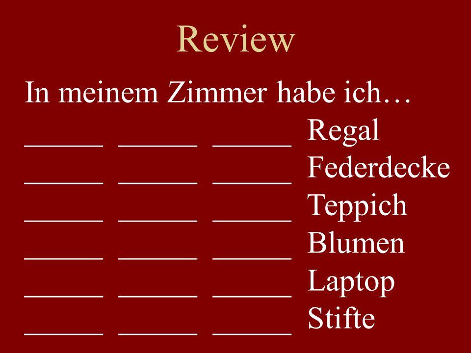 Review In meinem Zimmer habe ich… _____ _____ _____ Regal