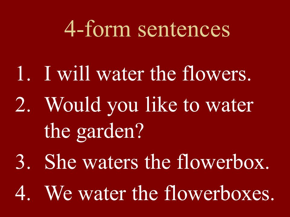 4-form sentences I will water the flowers.