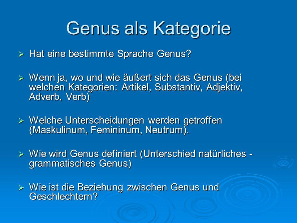 Genus als Kategorie Hat eine bestimmte Sprache Genus