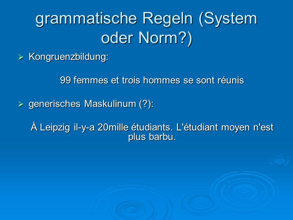 grammatische Regeln (System oder Norm )