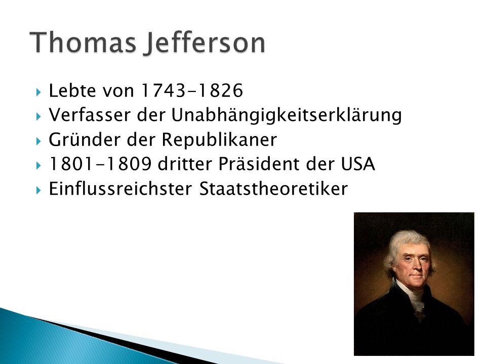 Thomas Jefferson Lebte von 1743-1826