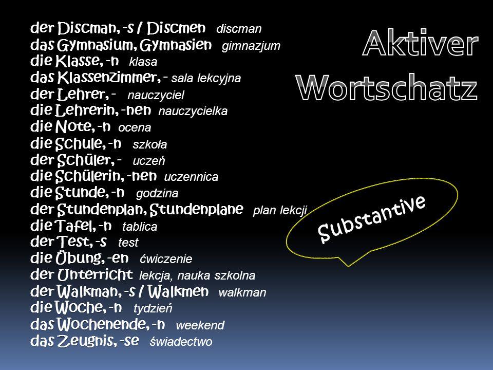 Aktiver Wortschatz Substantive der Discman, -s / Discmen discman