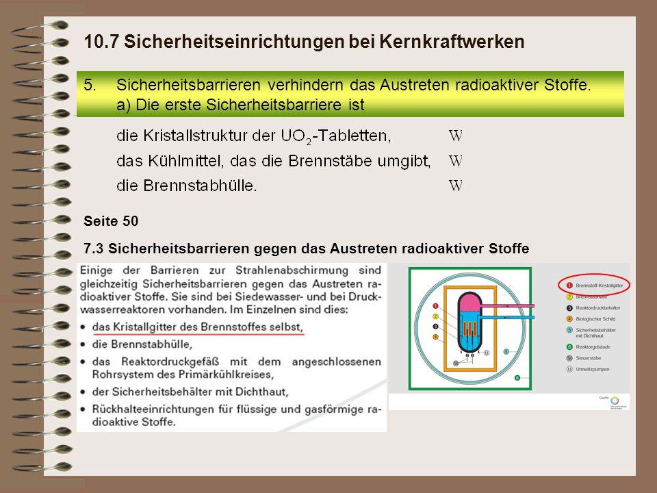 10.7 Sicherheitseinrichtungen bei Kernkraftwerken