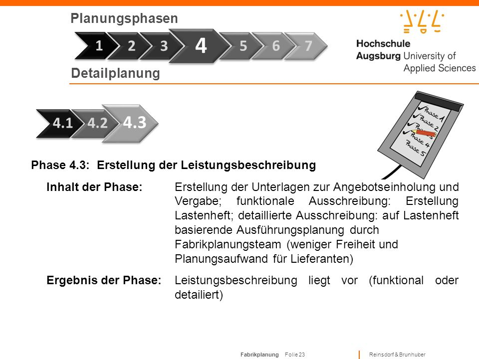 4 1 4.3 1 2 3 5 6 7 4.1 4.2 Planungsphasen Detailplanung