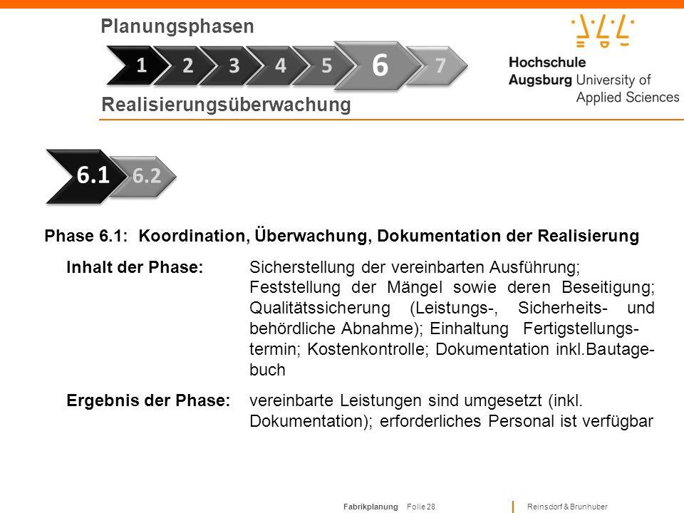 6 1 6.1 1 2 3 4 5 7 6.2 Planungsphasen Realisierungsüberwachung