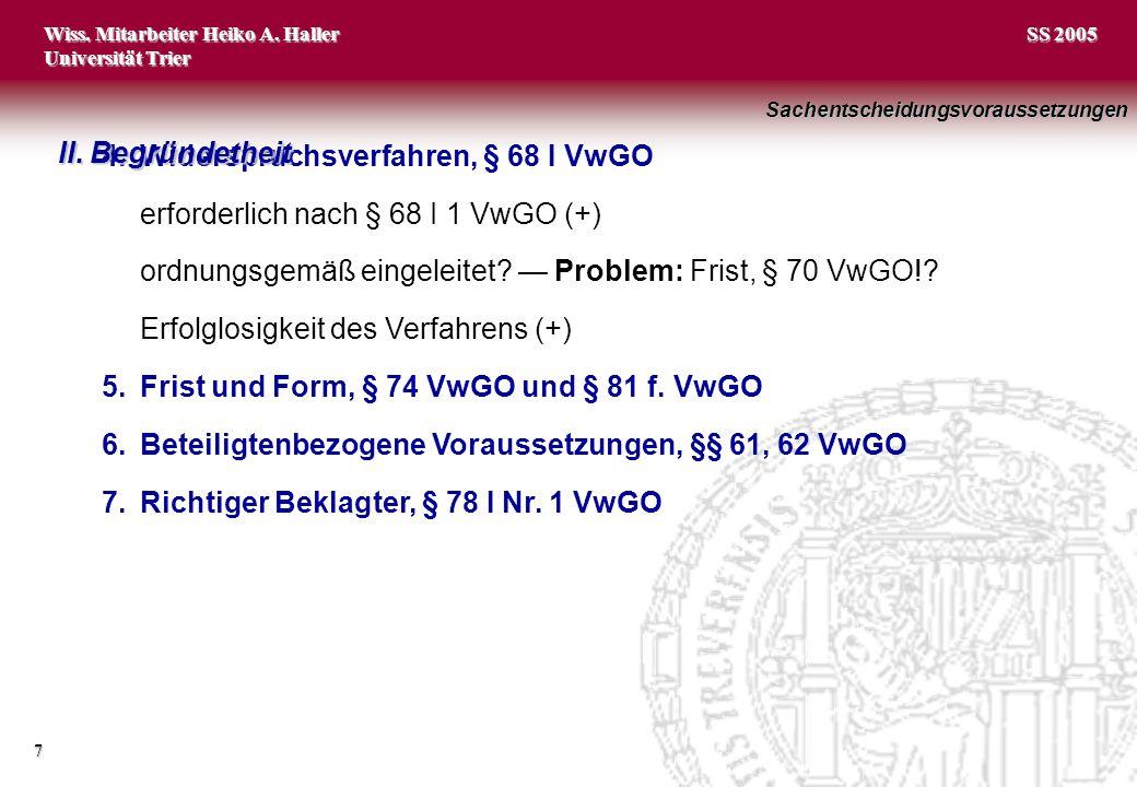 4. Widerspruchsverfahren, § 68 I VwGO