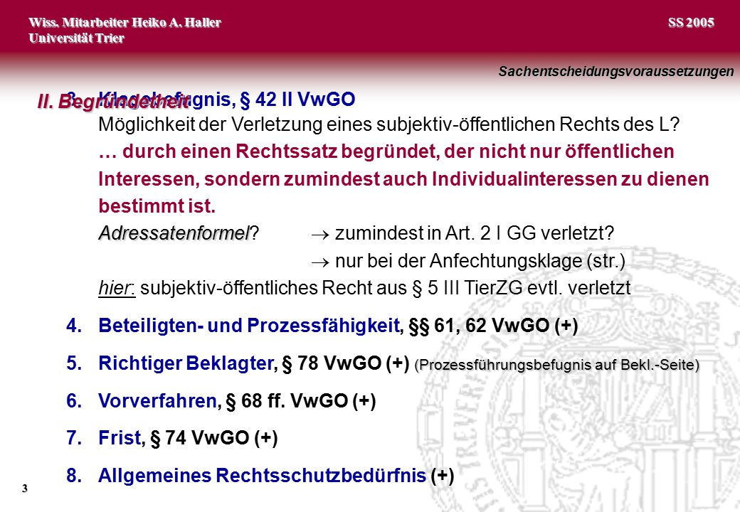 3. Klagebefugnis, § 42 II VwGO