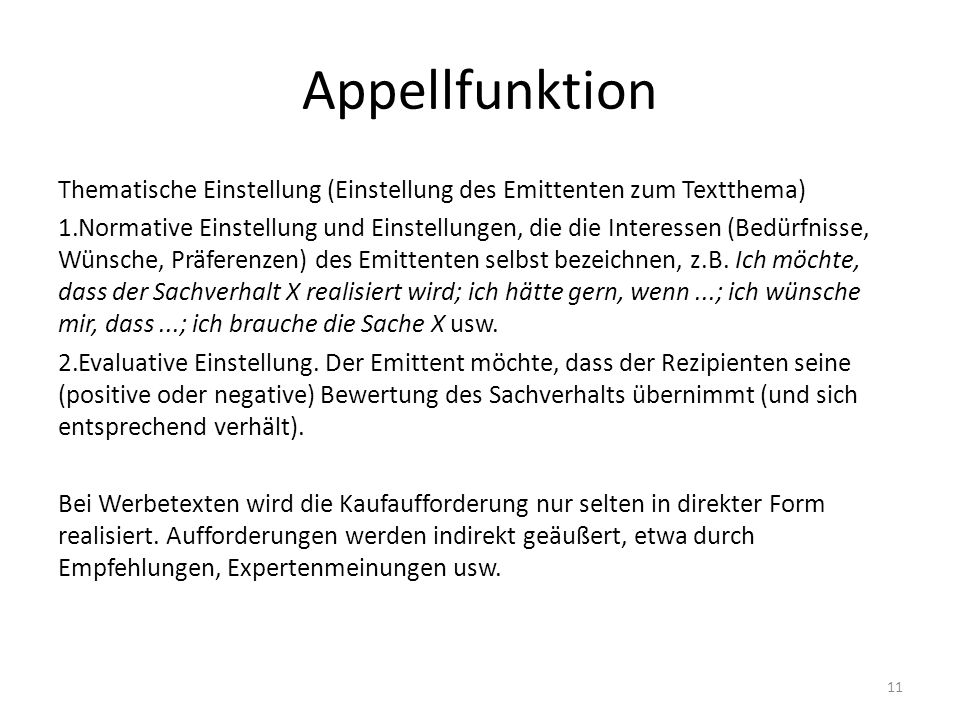 Appellfunktion Thematische Einstellung (Einstellung des Emittenten zum Textthema)