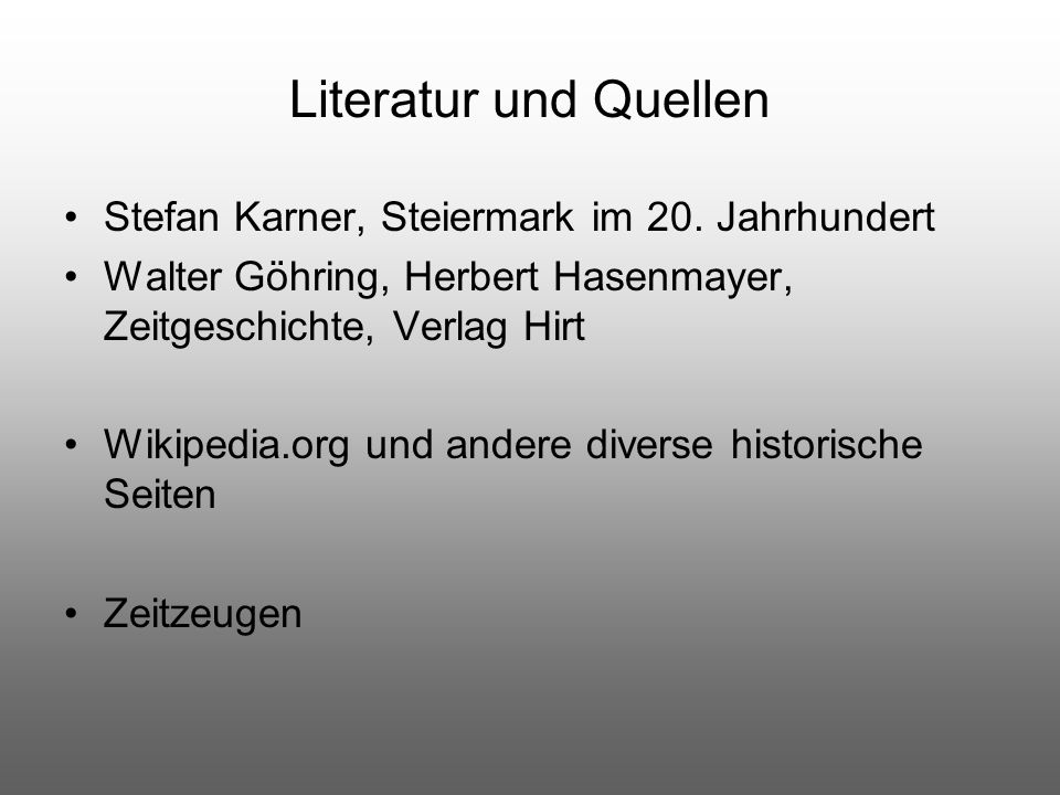 Literatur und Quellen Stefan Karner, Steiermark im 20. Jahrhundert