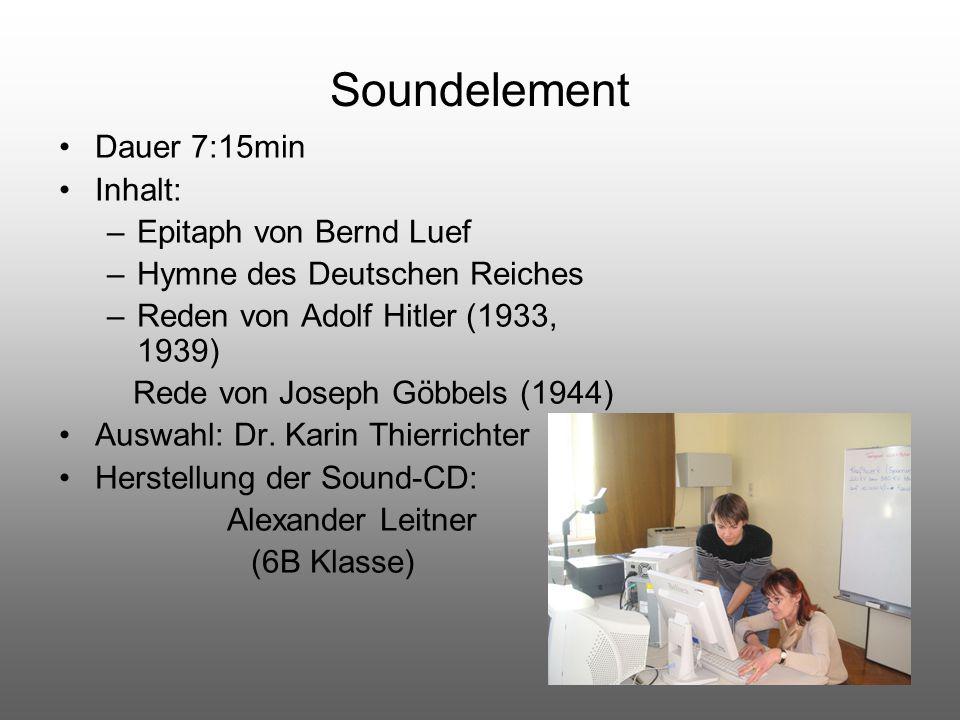 Soundelement Dauer 7:15min Inhalt: Epitaph von Bernd Luef