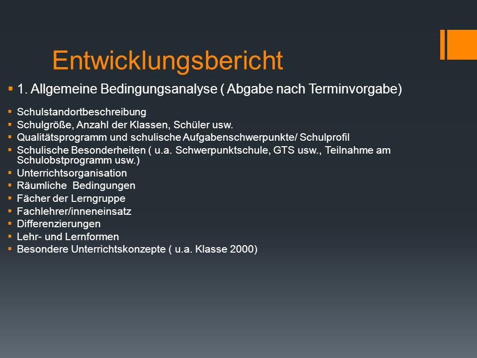 Entwicklungsbericht 1. Allgemeine Bedingungsanalyse ( Abgabe nach Terminvorgabe) Schulstandortbeschreibung.
