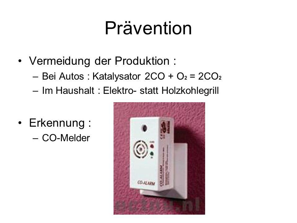 Prävention Vermeidung der Produktion : Erkennung :