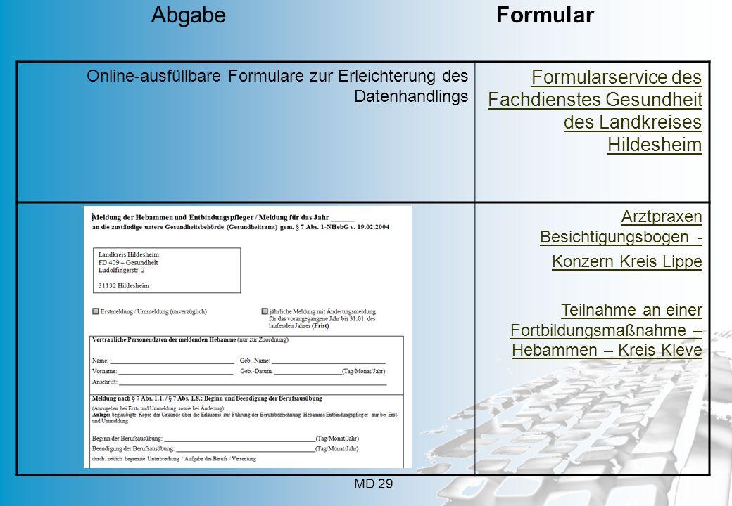 Abgabe Formular Online-ausfüllbare Formulare zur Erleichterung des Datenhandlings.