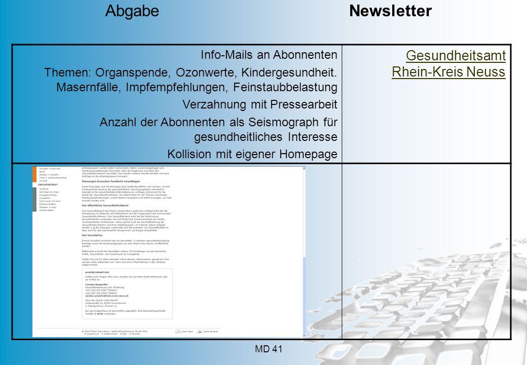 Abgabe Newsletter Gesundheitsamt Rhein-Kreis Neuss